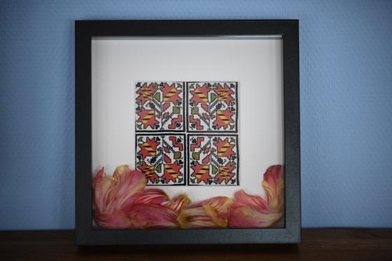DMC Bulgarian embroidery red tulips българска шевица български шевици
