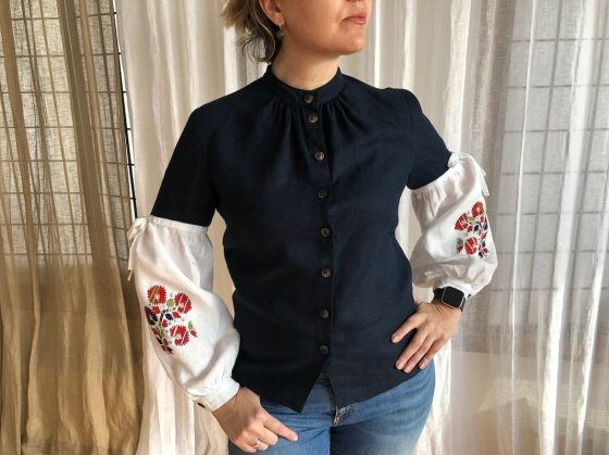 Bulgarian Embroidery Linen Shirt Contemporary Look